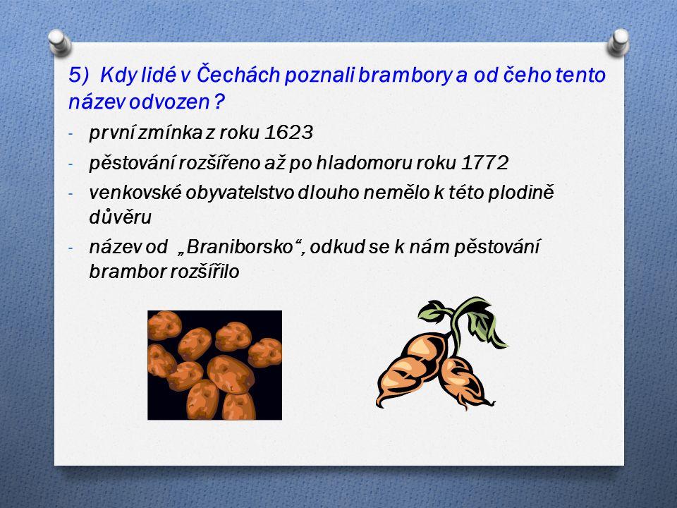 5) Kdy lidé v Čechách poznali brambory a od čeho tento název odvozen .