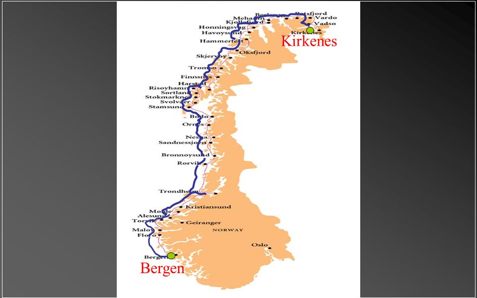 """Trajekt & dopravní služba """"Richard With"""" mezi Bergenem a Kirkenes. Před více než sto lety jsou počátky této námořní trasy. Tento turistický itinerář b"""