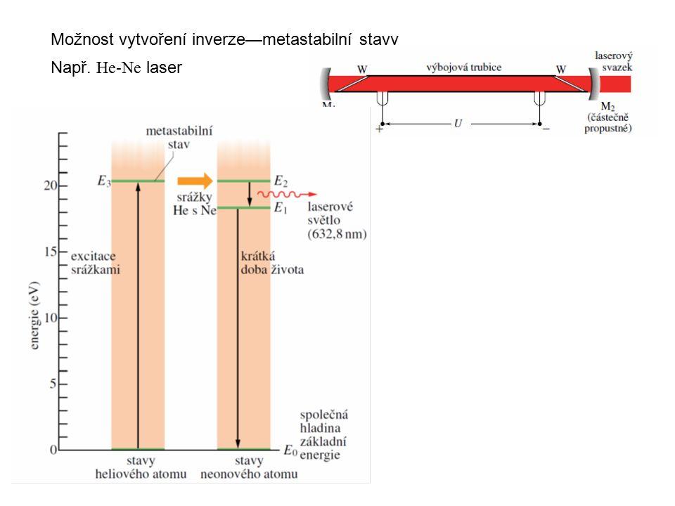 Možnost vytvoření inverze—metastabilní stavy Např. He-Ne laser