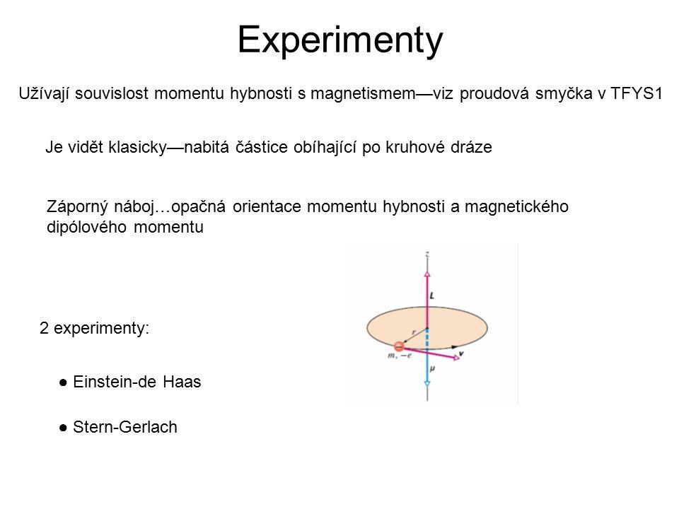 Experimenty ● Einstein-de Haas ● Stern-Gerlach Užívají souvislost momentu hybnosti s magnetismem—viz proudová smyčka v TFYS1 Je vidět klasicky—nabitá částice obíhající po kruhové dráze Záporný náboj…opačná orientace momentu hybnosti a magnetického dipólového momentu 2 experimenty: