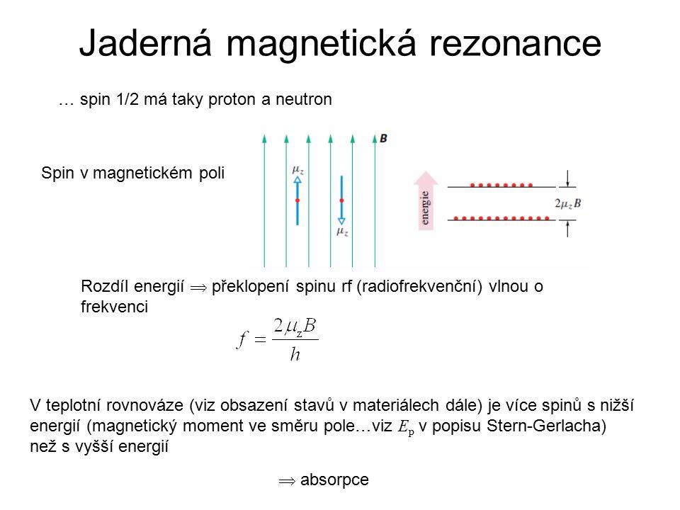 … spin 1/2 má taky proton a neutron Spin v magnetickém poli Rozdíl energií  překlopení spinu rf (radiofrekvenční) vlnou o frekvenci V teplotní rovnováze (viz obsazení stavů v materiálech dále) je více spinů s nižší energií (magnetický moment ve směru pole…viz E p v popisu Stern-Gerlacha) než s vyšší energií  absorpce Jaderná magnetická rezonance