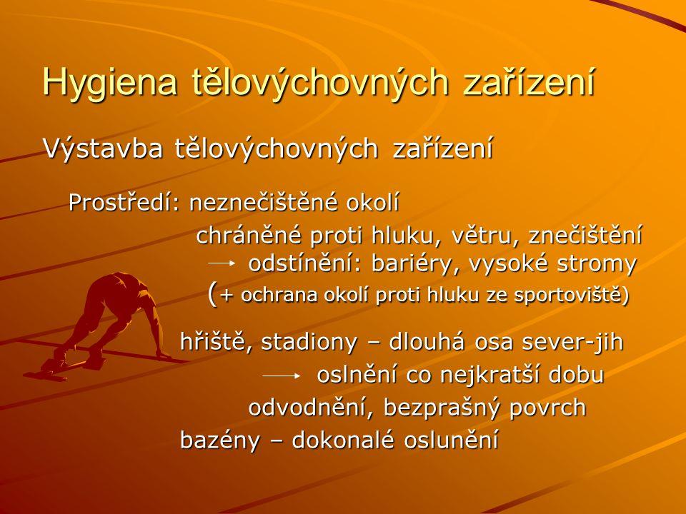 Hygiena tělovýchovných zařízení Výstavba tělovýchovných zařízení Prostředí: neznečištěné okolí chráněné proti hluku, větru, znečištění odstínění: bariéry, vysoké stromy ( + ochrana okolí proti hluku ze sportoviště) chráněné proti hluku, větru, znečištění odstínění: bariéry, vysoké stromy ( + ochrana okolí proti hluku ze sportoviště) hřiště, stadiony – dlouhá osa sever-jih hřiště, stadiony – dlouhá osa sever-jih oslnění co nejkratší dobu odvodnění, bezprašný povrch bazény – dokonalé oslunění