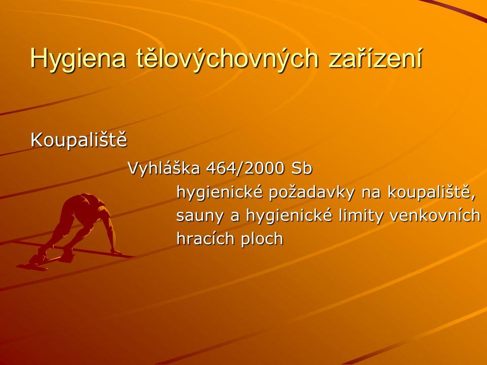 Hygiena tělovýchovných zařízení Koupaliště Vyhláška 464/2000 Sb hygienické požadavky na koupaliště, sauny a hygienické limity venkovních hracích ploch