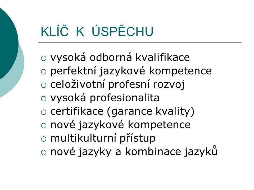 KLÍČ K ÚSPĚCHU  vysoká odborná kvalifikace  perfektní jazykové kompetence  celoživotní profesní rozvoj  vysoká profesionalita  certifikace (garance kvality)  nové jazykové kompetence  multikulturní přístup  nové jazyky a kombinace jazyků