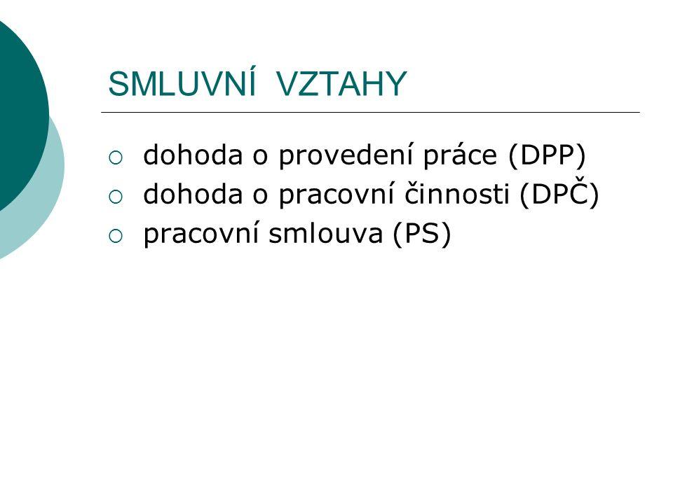 SMLUVNÍ VZTAHY  dohoda o provedení práce (DPP)  dohoda o pracovní činnosti (DPČ)  pracovní smlouva (PS)