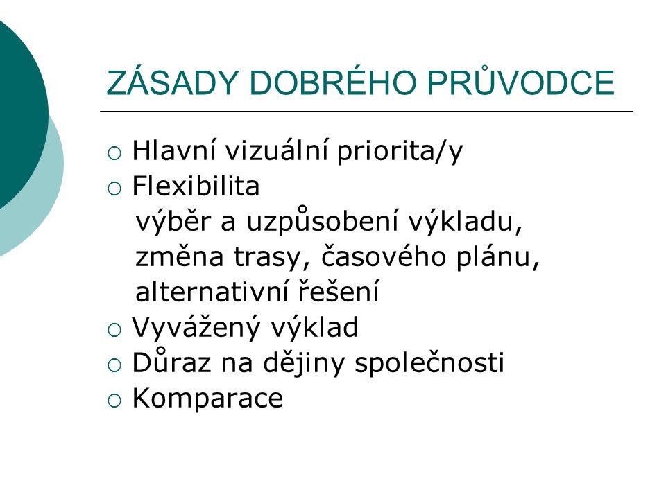 ZÁSADY DOBRÉHO PRŮVODCE  Hlavní vizuální priorita/y  Flexibilita výběr a uzpůsobení výkladu, změna trasy, časového plánu, alternativní řešení  Vyvážený výklad  Důraz na dějiny společnosti  Komparace