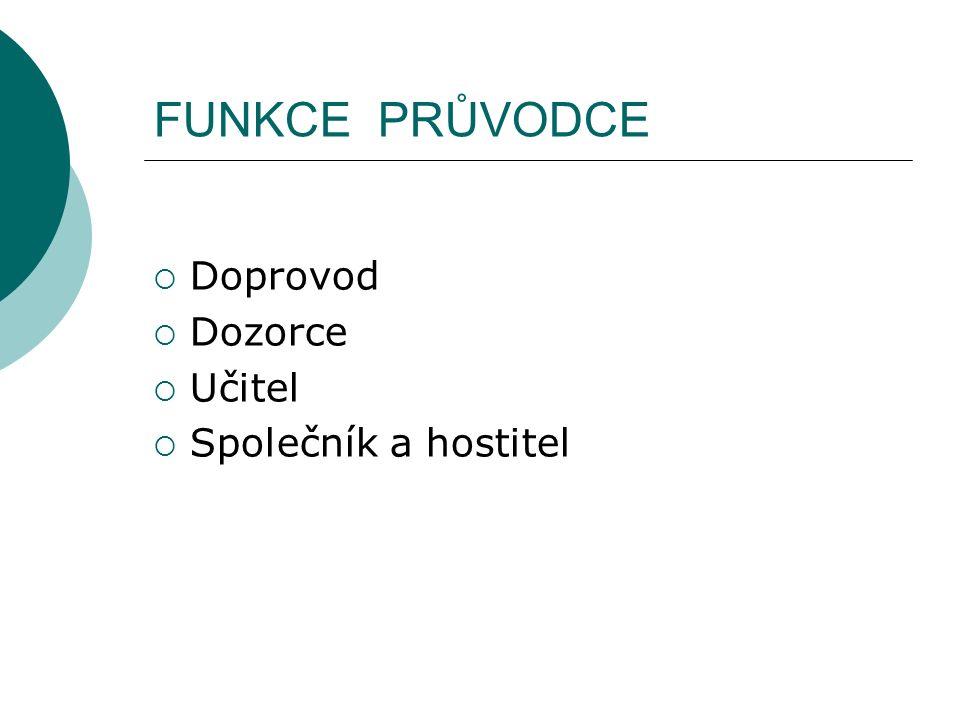 FUNKCE PRŮVODCE  Doprovod  Dozorce  Učitel  Společník a hostitel