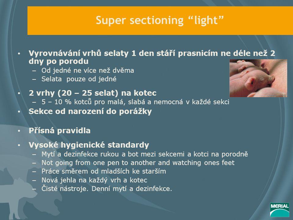 Super sectioning light Vyrovnávání vrhů selaty 1 den stáří prasnicím ne déle než 2 dny po porodu – Od jedné ne více než dvěma – Selata pouze od jedné 2 vrhy (20 – 25 selat) na kotec – 5 – 10 % kotců pro malá, slabá a nemocná v každé sekci Sekce od narození do porážky Přísná pravidla Vysoké hygienické standardy – Mytí a dezinfekce rukou a bot mezi sekcemi a kotci na porodně – Not going from one pen to another and watching ones feet – Práce směrem od mladších ke starším – Nová jehla na každý vrh a kotec – Čisté nástroje.