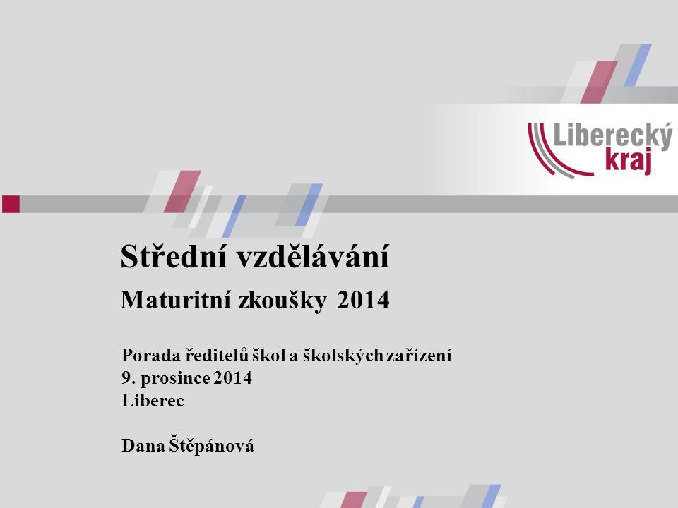 Střední vzdělávání Maturitní zkoušky 2014 Porada ředitelů škol a školských zařízení 9.