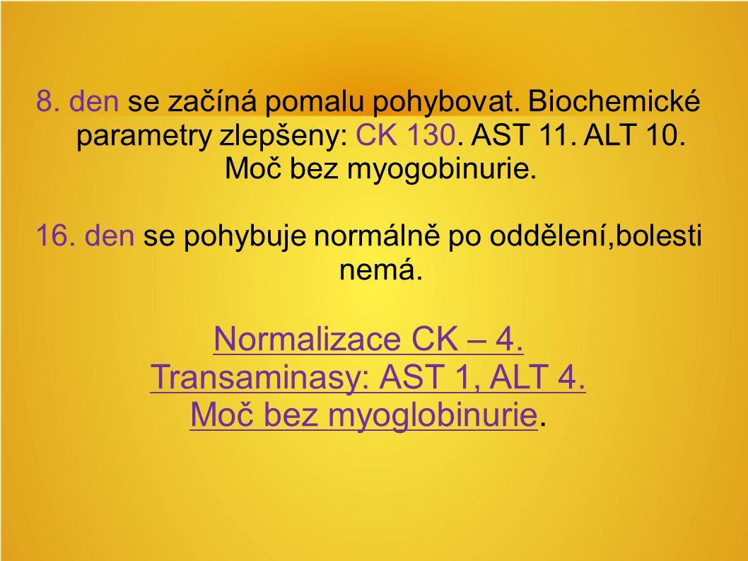 8. den se začíná pomalu pohybovat. Biochemické parametry zlepšeny: CK 130.