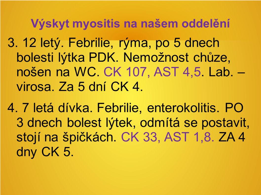 Výskyt myositis na našem oddelění 3. 12 letý. Febrilie, rýma, po 5 dnech bolesti lýtka PDK.