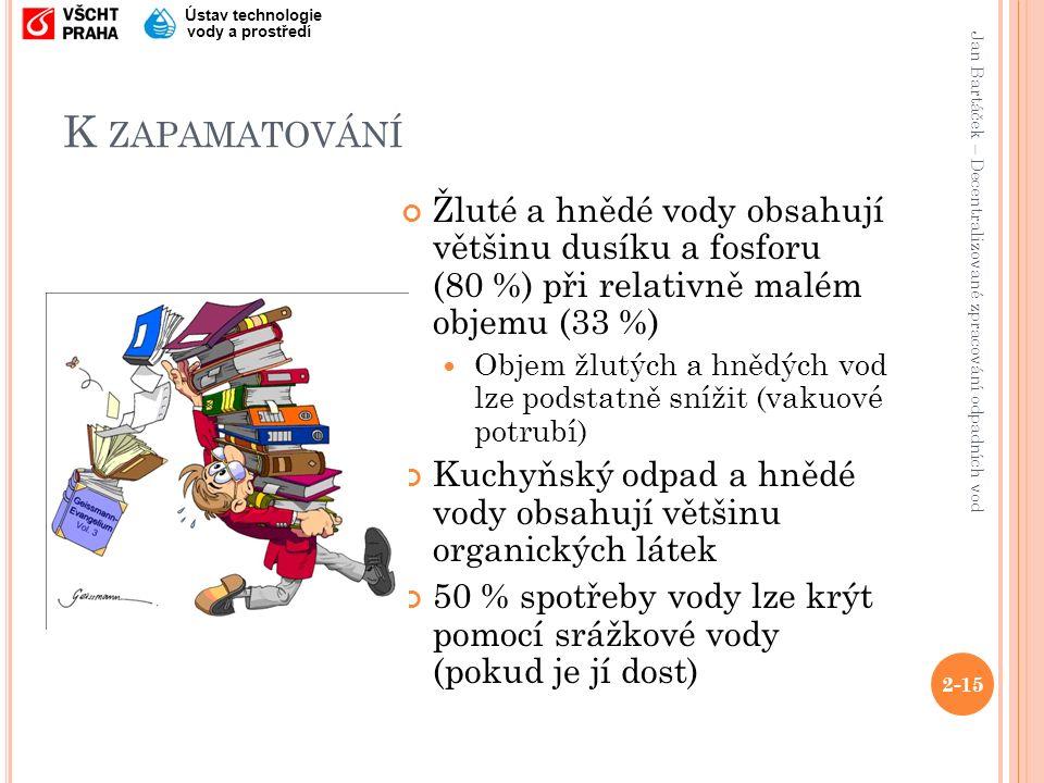 Jan Bartáček – Decentralizované zpracování odpadních vod Ústav technologie vody a prostředí K ZAPAMATOVÁNÍ Žluté a hnědé vody obsahují většinu dusíku