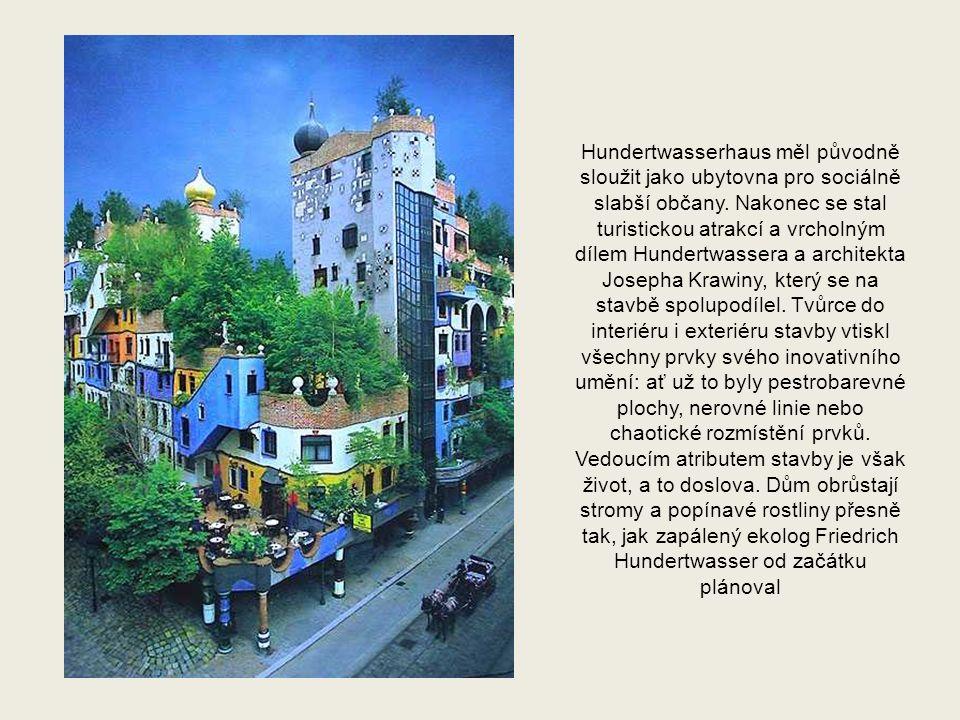 Z jeho architektonického díla, které čítá na 200 objektů především v Rakousku a Německu, vyniká především komplex Hundertwasserových obytných domů ve Vídni (dokončen v roce 1985)