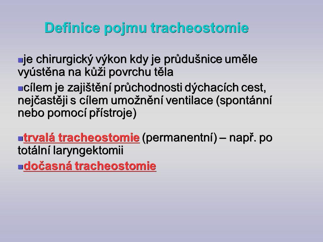 Definice pojmu tracheostomie je chirurgický výkon kdy je průdušnice uměle vyústěna na kůži povrchu těla je chirurgický výkon kdy je průdušnice uměle v