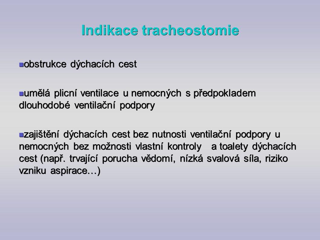 Indikace tracheostomie obstrukce dýchacích cest obstrukce dýchacích cest umělá plicní ventilace u nemocných s předpokladem dlouhodobé ventilační podpo