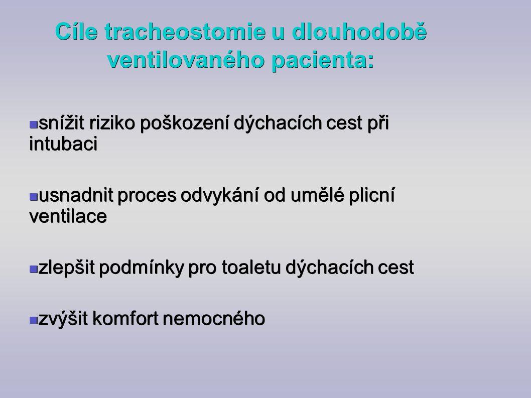 Cíle tracheostomie u dlouhodobě ventilovaného pacienta: snížit riziko poškození dýchacích cest při intubaci snížit riziko poškození dýchacích cest při
