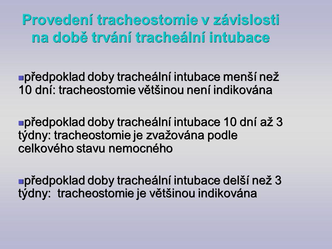 Provedení tracheostomie v závislosti na době trvání tracheální intubace předpoklad doby tracheální intubace menší než 10 dní: tracheostomie většinou n