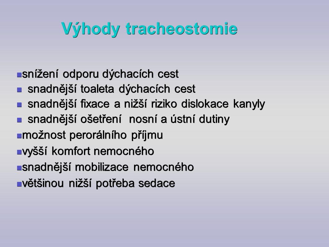 Výhody tracheostomie snížení odporu dýchacích cest snížení odporu dýchacích cest snadnější toaleta dýchacích cest snadnější toaleta dýchacích cest sna