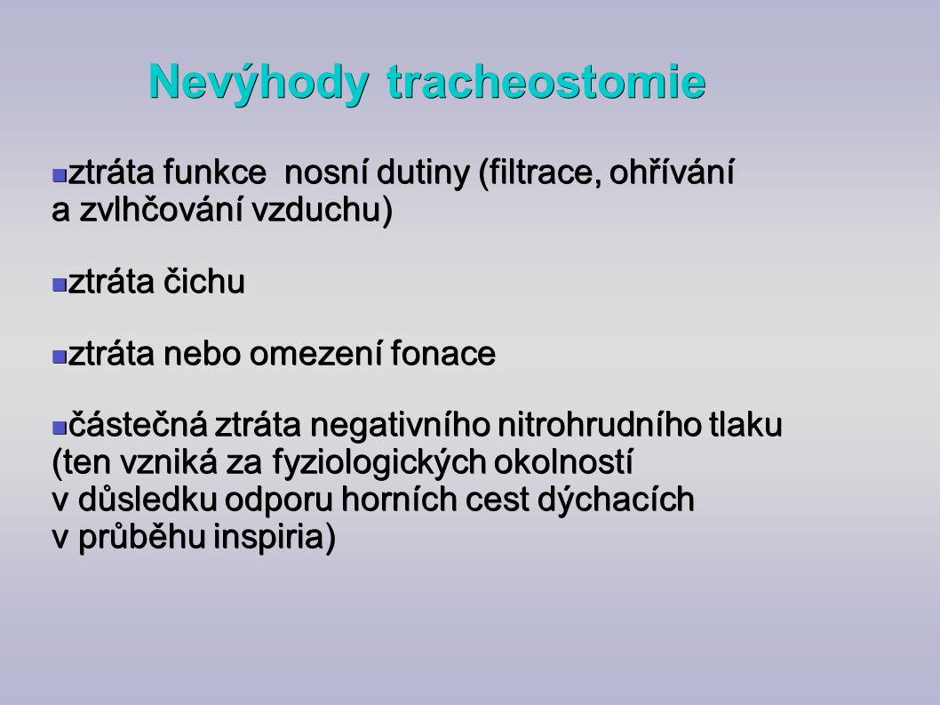 Nevýhody tracheostomie ztráta funkce nosní dutiny (filtrace, ohřívání a zvlhčování vzduchu) ztráta funkce nosní dutiny (filtrace, ohřívání a zvlhčován