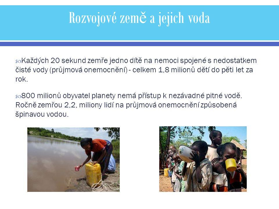 Rozvojové zem ě a jejich voda  Každých 20 sekund zemře jedno dítě na nemoci spojené s nedostatkem čisté vody (průjmová onemocnění) - celkem 1,8 milionů dětí do pěti let za rok.