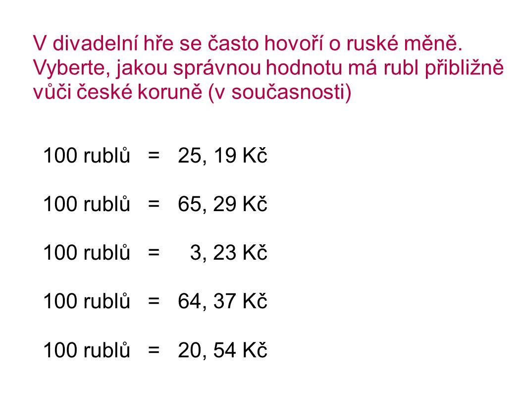 V divadelní hře se často hovoří o ruské měně.