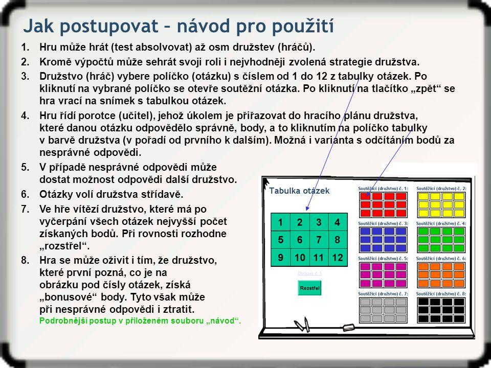 Tabulka otázek Soutěžící (družstvo) č.