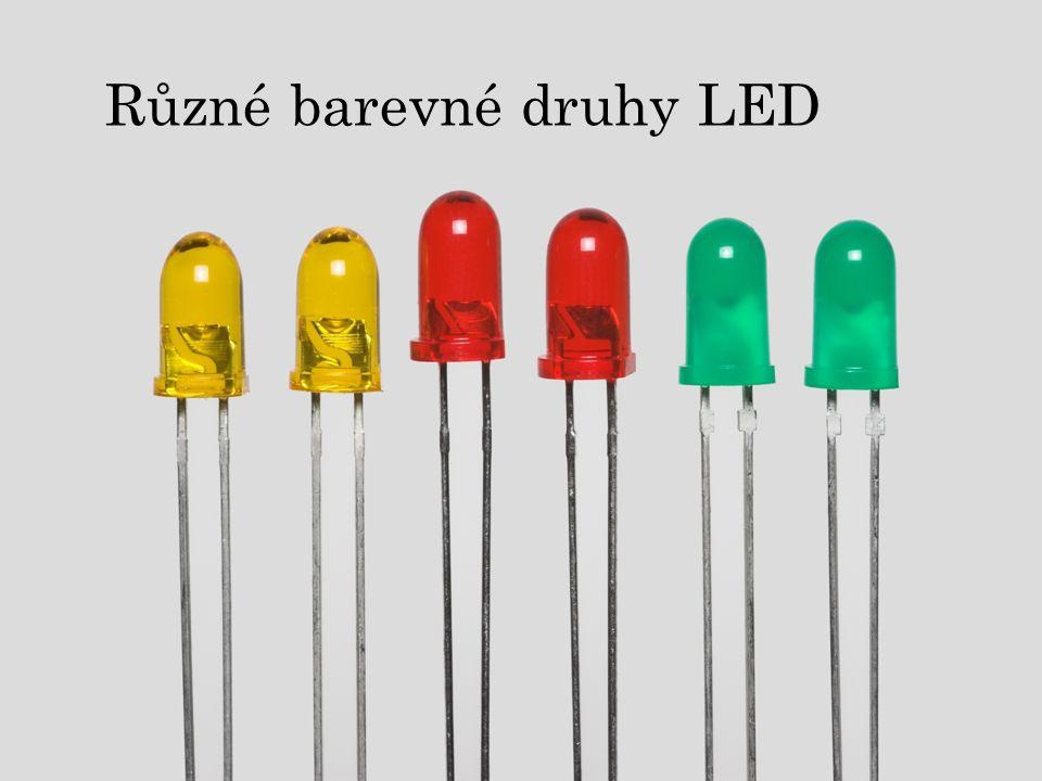 Různé barevné druhy LED