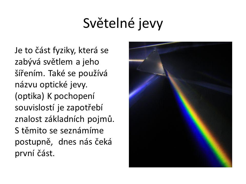 Světelné jevy Je to část fyziky, která se zabývá světlem a jeho šířením. Také se používá názvu optické jevy. (optika) K pochopení souvislostí je zapot