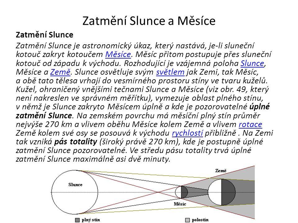 Zatmění Slunce a Měsíce Zatmění Slunce Zatmění Slunce je astronomický úkaz, který nastává, je-li sluneční kotouč zakryt kotoučem Měsíce.
