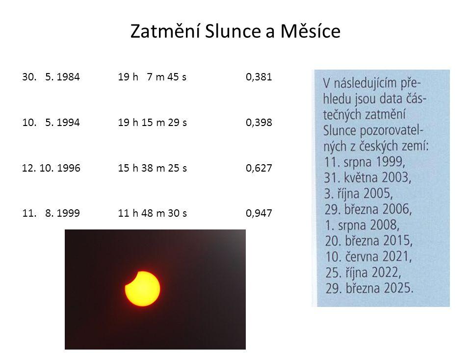 Zatmění Slunce a Měsíce 30. 5. 198419 h 7 m 45 s0,381 10. 5. 199419 h 15 m 29 s0,398 12. 10. 199615 h 38 m 25 s0,627 11. 8. 199911 h 48 m 30 s0,947
