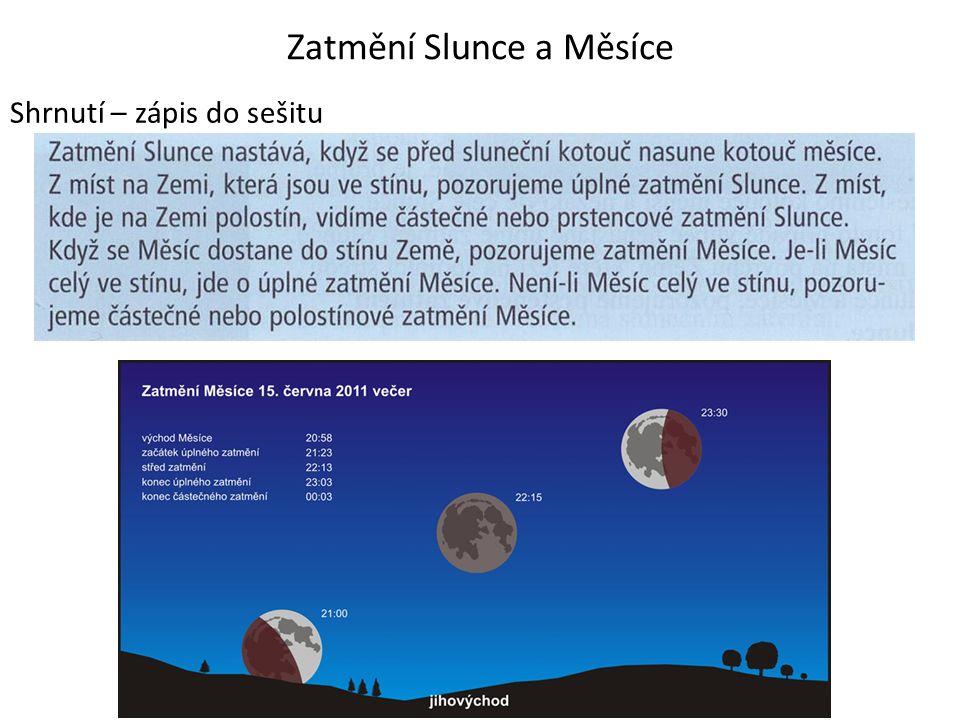 Zatmění Slunce a Měsíce Shrnutí – zápis do sešitu