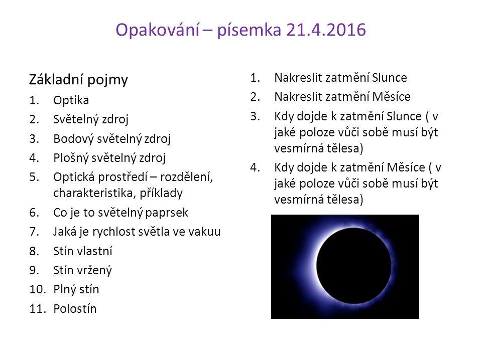 Opakování – písemka 21.4.2016 Základní pojmy 1.Optika 2.Světelný zdroj 3.Bodový světelný zdroj 4.Plošný světelný zdroj 5.Optická prostředí – rozdělení