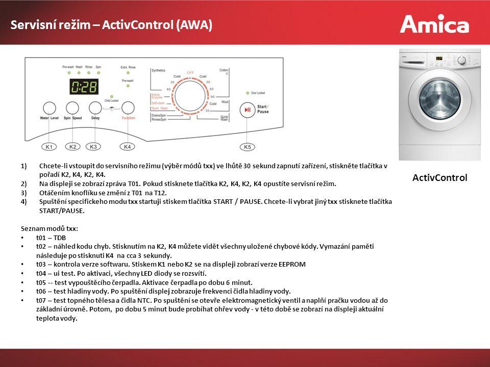 Servisní režim – ActivControl (AWA) ActivControl 1)Chcete-li vstoupit do servisního režimu (výběr módů txx) ve lhůtě 30 sekund zapnutí zařízení, stiskněte tlačítka v pořadí K2, K4, K2, K4.