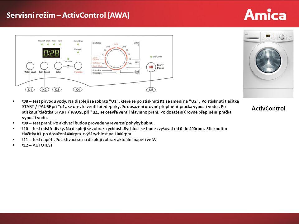 Servisní režim – ActivControl (AWA) ActivControl t08 – test přívodu vody.