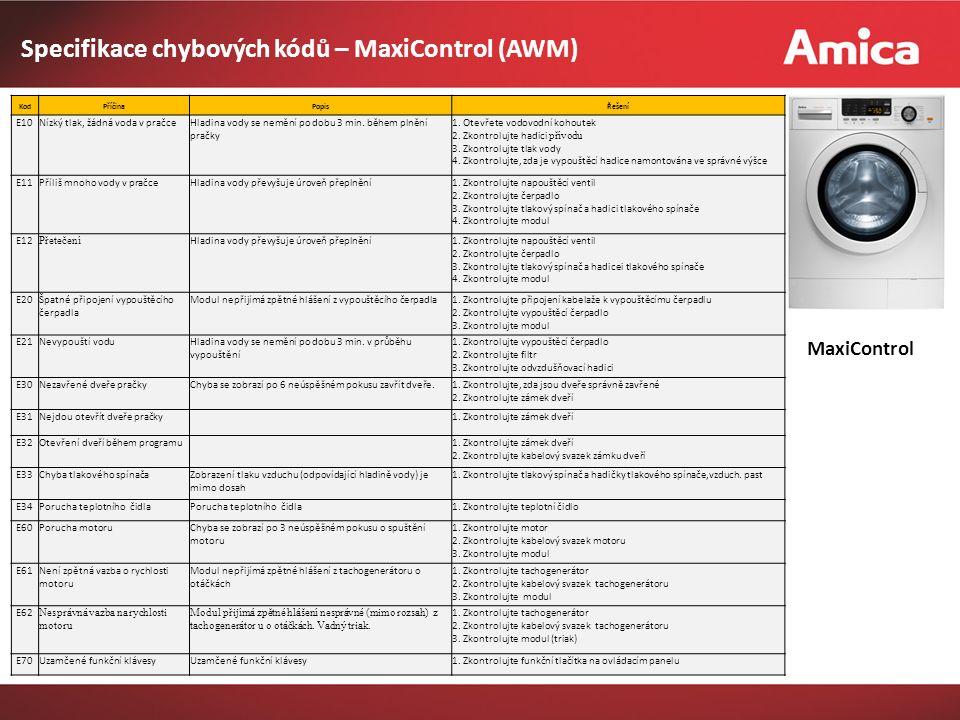 MaxiControl Specifikace chybových kódů – MaxiControl (AWM) KodPříčinaPopisŘešení E10Nízký tlak, žádná voda v pračceHladina vody se nemění po dobu 3 min.