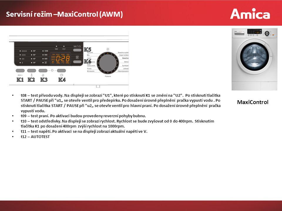 MaxiControl Servisní režim –MaxiControl (AWM) t08 – test přívodu vody.