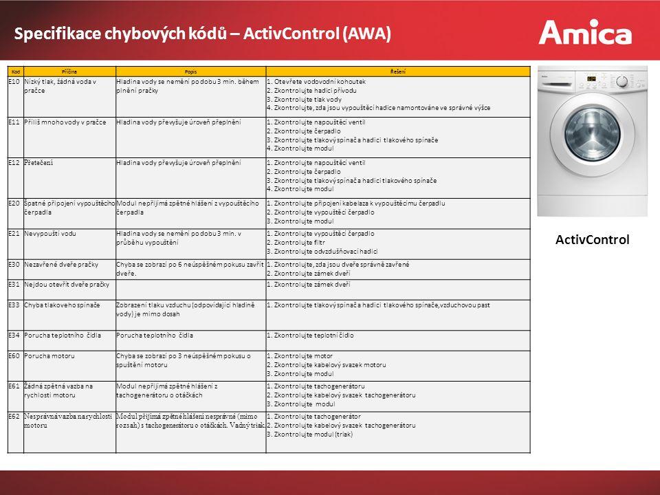Specifikace chybových kódů – ActivControl (AWA) ActivControl KodPříčinaPopisŘešení E10 Nízký tlak, žádná voda v pračce Hladina vody se nemění po dobu 3 min.
