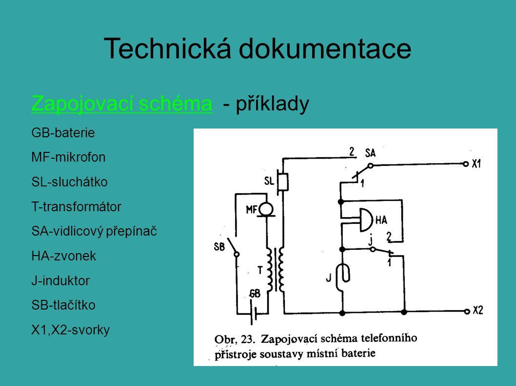 Technická dokumentace Zapojovací schéma - příklady GB-baterie MF-mikrofon SL-sluchátko T-transformátor SA-vidlicový přepínač HA-zvonek J-induktor SB-tlačítko X1,X2-svorky
