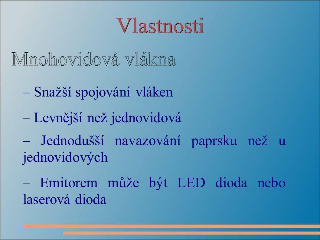 Vlastnosti – Snažší spojování vláken – Levnější než jednovidová – Jednodušší navazování paprsku než u jednovidových – Emitorem může být LED dioda nebo laserová dioda