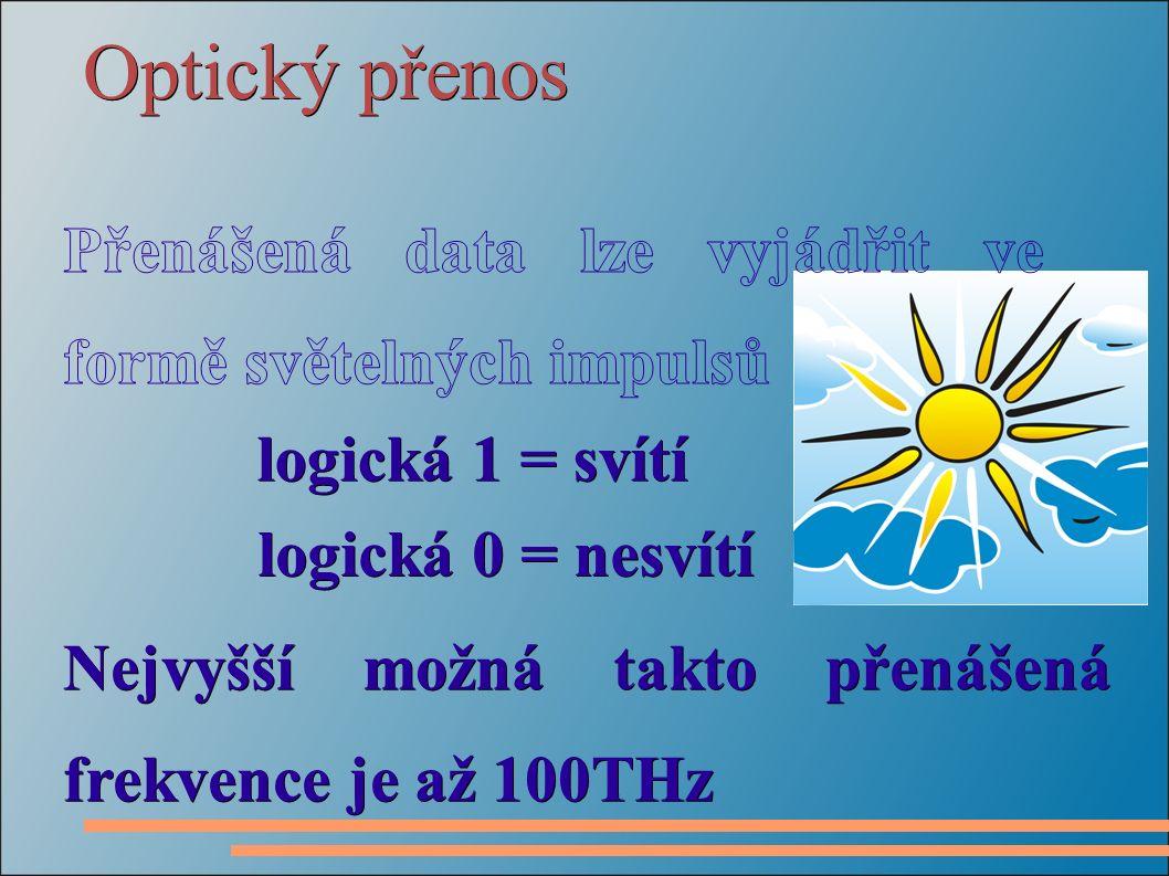 Optický přenos logická 1 = svítí logická 0 = nesvítí logická 0 = nesvítí Nejvyšší možná takto přenášená frekvence je až 100THz