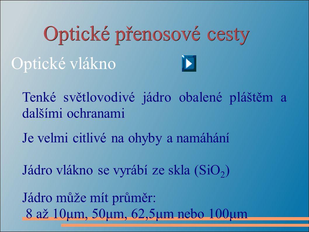 Optické přenosové cesty Optické vlákno Tenké světlovodivé jádro obalené pláštěm a dalšími ochranami Je velmi citlivé na ohyby a namáhání Jádro vlákno se vyrábí ze skla (SiO 2 ) Jádro může mít průměr: 8 až 10μm, 50μm, 62,5μm nebo 100μm
