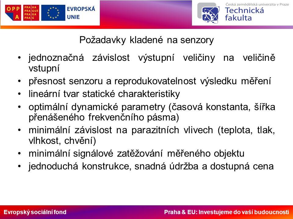 Evropský sociální fond Praha & EU: Investujeme do vaší budoucnosti Požadavky kladené na senzory jednoznačná závislost výstupní veličiny na veličině vstupní přesnost senzoru a reprodukovatelnost výsledku měření lineární tvar statické charakteristiky optimální dynamické parametry (časová konstanta, šířka přenášeného frekvenčního pásma) minimální závislost na parazitních vlivech (teplota, tlak, vlhkost, chvění) minimální signálové zatěžování měřeného objektu jednoduchá konstrukce, snadná údržba a dostupná cena