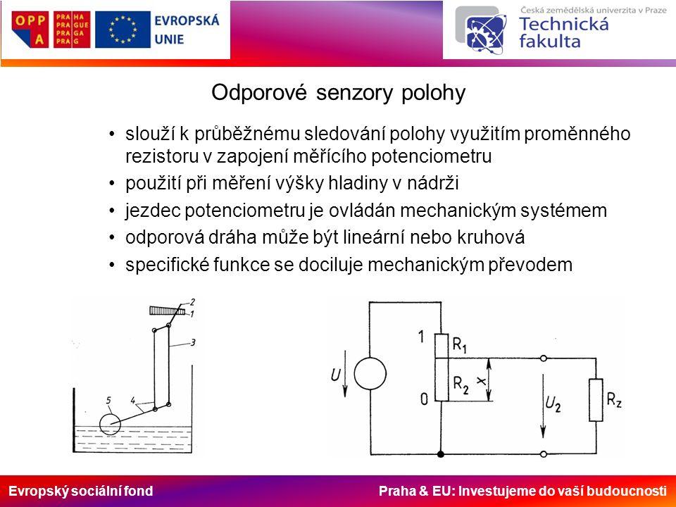 Evropský sociální fond Praha & EU: Investujeme do vaší budoucnosti Odporové senzory polohy slouží k průběžnému sledování polohy využitím proměnného rezistoru v zapojení měřícího potenciometru použití při měření výšky hladiny v nádrži jezdec potenciometru je ovládán mechanickým systémem odporová dráha může být lineární nebo kruhová specifické funkce se dociluje mechanickým převodem