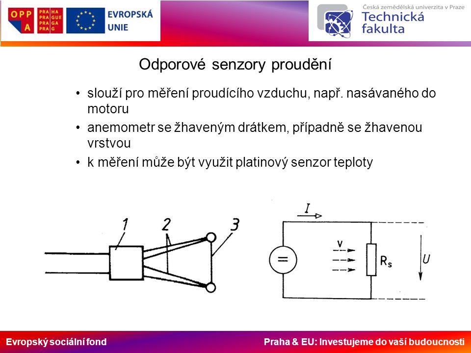 Evropský sociální fond Praha & EU: Investujeme do vaší budoucnosti Odporové senzory proudění slouží pro měření proudícího vzduchu, např. nasávaného do