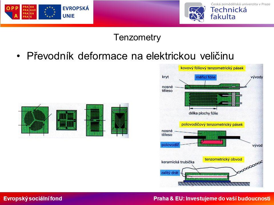 Evropský sociální fond Praha & EU: Investujeme do vaší budoucnosti Tenzometry Převodník deformace na elektrickou veličinu