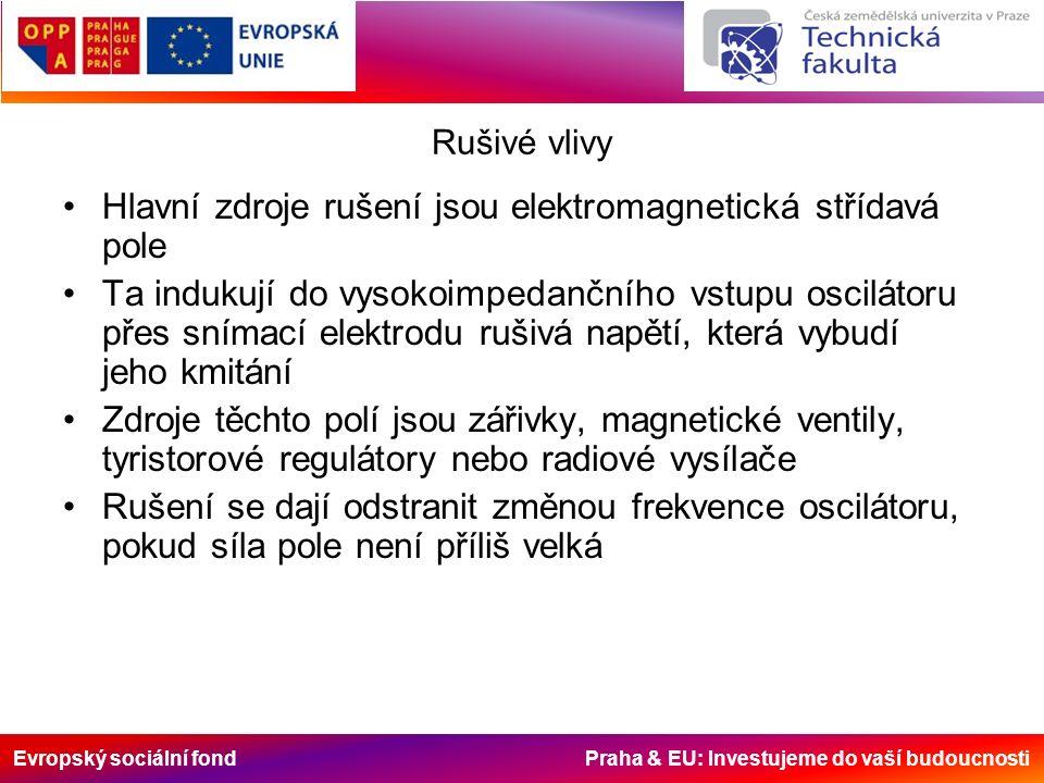 Evropský sociální fond Praha & EU: Investujeme do vaší budoucnosti Rušivé vlivy Hlavní zdroje rušení jsou elektromagnetická střídavá pole Ta indukují