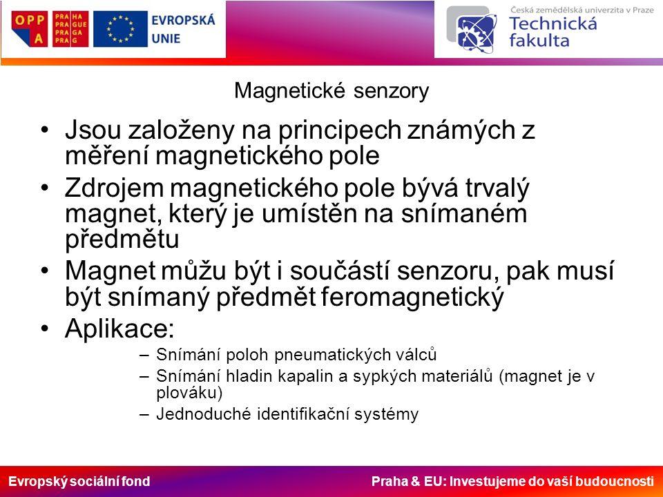 Evropský sociální fond Praha & EU: Investujeme do vaší budoucnosti Magnetické senzory Jsou založeny na principech známých z měření magnetického pole Zdrojem magnetického pole bývá trvalý magnet, který je umístěn na snímaném předmětu Magnet můžu být i součástí senzoru, pak musí být snímaný předmět feromagnetický Aplikace: –Snímání poloh pneumatických válců –Snímání hladin kapalin a sypkých materiálů (magnet je v plováku) –Jednoduché identifikační systémy