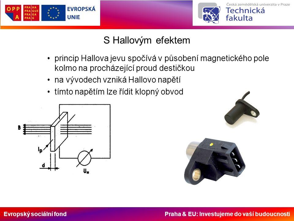 Evropský sociální fond Praha & EU: Investujeme do vaší budoucnosti S Hallovým efektem princip Hallova jevu spočívá v působení magnetického pole kolmo na procházející proud destičkou na vývodech vzniká Hallovo napětí tímto napětím lze řídit klopný obvod