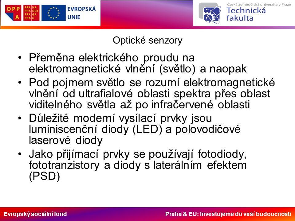 Evropský sociální fond Praha & EU: Investujeme do vaší budoucnosti Optické senzory Přeměna elektrického proudu na elektromagnetické vlnění (světlo) a naopak Pod pojmem světlo se rozumí elektromagnetické vlnění od ultrafialové oblasti spektra přes oblast viditelného světla až po infračervené oblasti Důležité moderní vysílací prvky jsou luminiscenční diody (LED) a polovodičové laserové diody Jako přijímací prvky se používají fotodiody, fototranzistory a diody s laterálním efektem (PSD)
