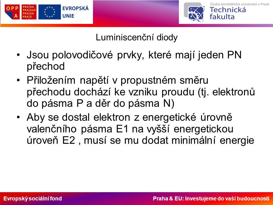 Evropský sociální fond Praha & EU: Investujeme do vaší budoucnosti Luminiscenční diody Jsou polovodičové prvky, které mají jeden PN přechod Přiložením napětí v propustném směru přechodu dochází ke vzniku proudu (tj.